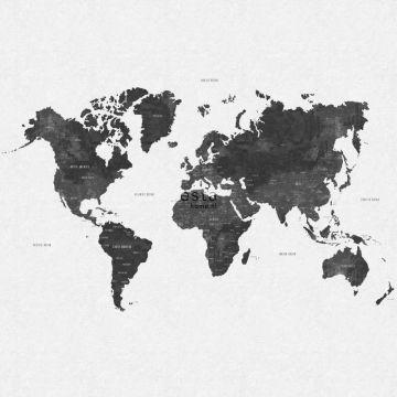 papier peint panoramique carte du monde vintage noir grisé