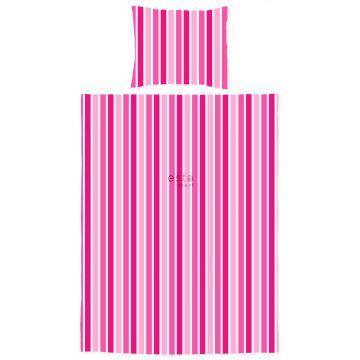 jeu housse de couette pour lit junior à rayures rose bonbon