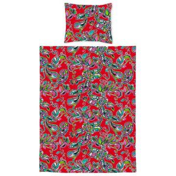 jeu housse de couette pour lit junior fleurs et paisleys rouge