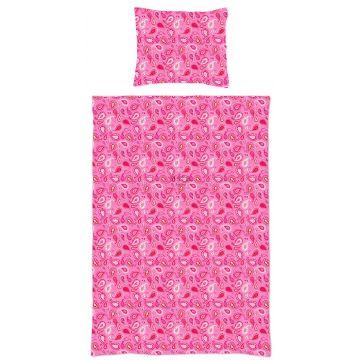 jeu de house de couette simple paisleys rose bonbon