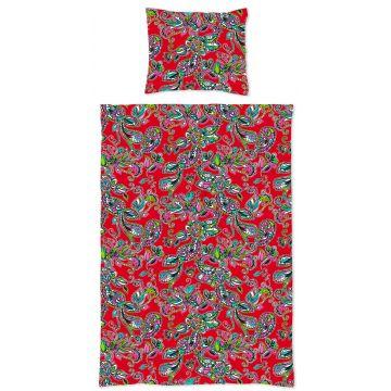 jeu de house de couette simple fleurs et paisleys rouge