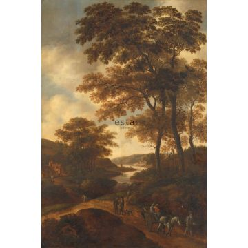 papier peint panoramique paysage boisé orange