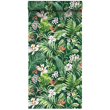 papier peint intissé XXL feuilles et fleurs tropicales vert émeraude