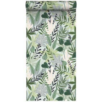 papier peint intissé XXL feuilles au style scandinave vert menthe