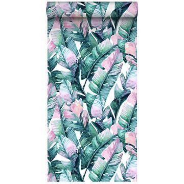 papier peint intissé XXL feuilles de bananier turquoise et rose