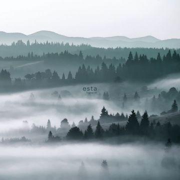 papier peint panoramique montagnes brumeuses vert