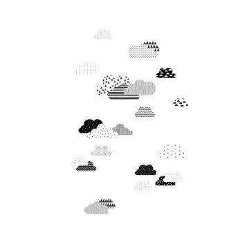 papier peint panoramique nuages noir et blanc