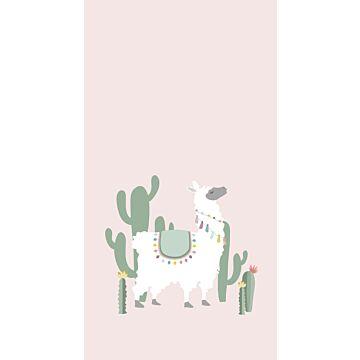 papier peint panoramique alpaga rose clair et vert
