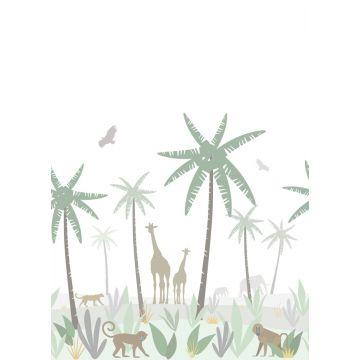 papier peint panoramique animaux de la jungle vert, gris et marron