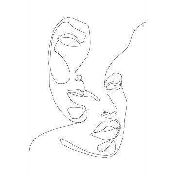 papier peint panoramique visages noir et blanc