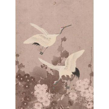 papier peint panoramique oiseaux de grue gris rose
