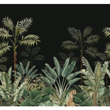 papier peint panoramique jungle noir et vert grisé