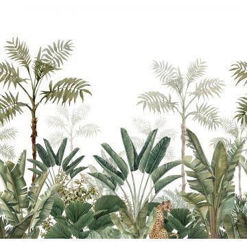 papier peint panoramique jungle blanc et vert olive grisé