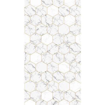papier peint panoramique marbre noir et blanc et or