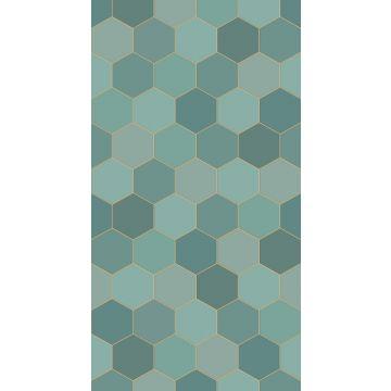 papier peint panoramique hexagone bleu canard et bleu canard