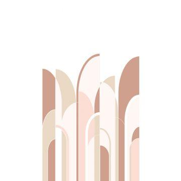 papier peint panoramique art déco terracotta et rose clair