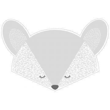 sticker mural têtes d'animaux gris clair