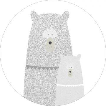 papier peint panoramique rond adhésif ours mère et enfant gris clair
