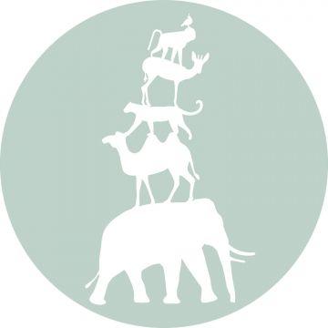 papier peint panoramique rond adhésif animaux empilés vert menthe et blanc