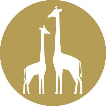 papier peint panoramique rond adhésif girafes jaune ocre et blanc
