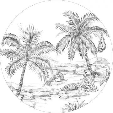 papier peint panoramique rond adhésif safari noir et blanc