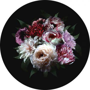 papier peint panoramique rond adhésif nature morte de fleurs multicolore et noir