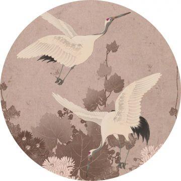 papier peint panoramique rond adhésif oiseaux de grue gris rose