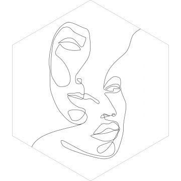 sticker mural visages noir et blanc