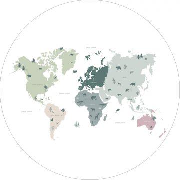 papier peint panoramique rond adhésif carte du monde pour enfants vert menthe, gris et rose