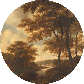 papier peint panoramique rond adhésif paysage boisé orange