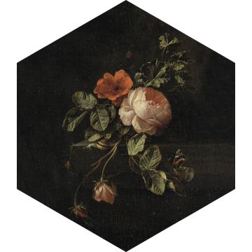 sticker mural nature morte de fleurs noir, vert et rose