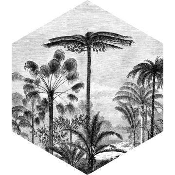 sticker mural paysage tropical avec des palmiers noir et blanc
