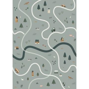 papier peint panoramique tracteurs et animaux de la ferme vert grisé