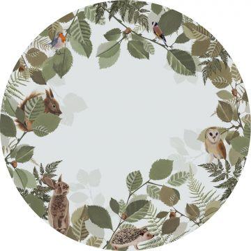 papier peint panoramique rond adhésif animaux de la forêt vert et marron