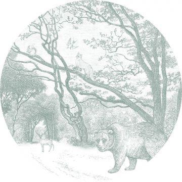 papier peint panoramique rond adhésif forêt avec des animaux de la forêt vert