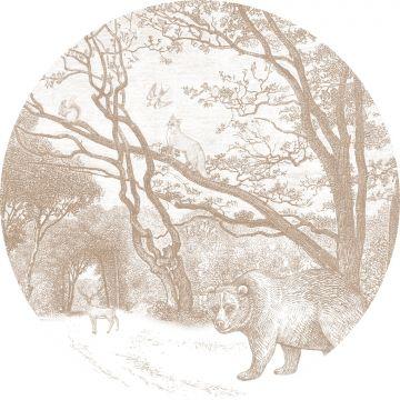papier peint panoramique rond adhésif forêt avec des animaux de la forêt cervine