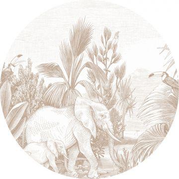 papier peint panoramique rond adhésif jungle cervine