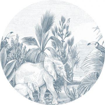 papier peint panoramique rond adhésif jungle bleu