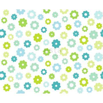 tissu fleurs vert citron