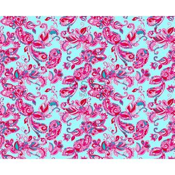 tissu fleurs et paisleys turquoise