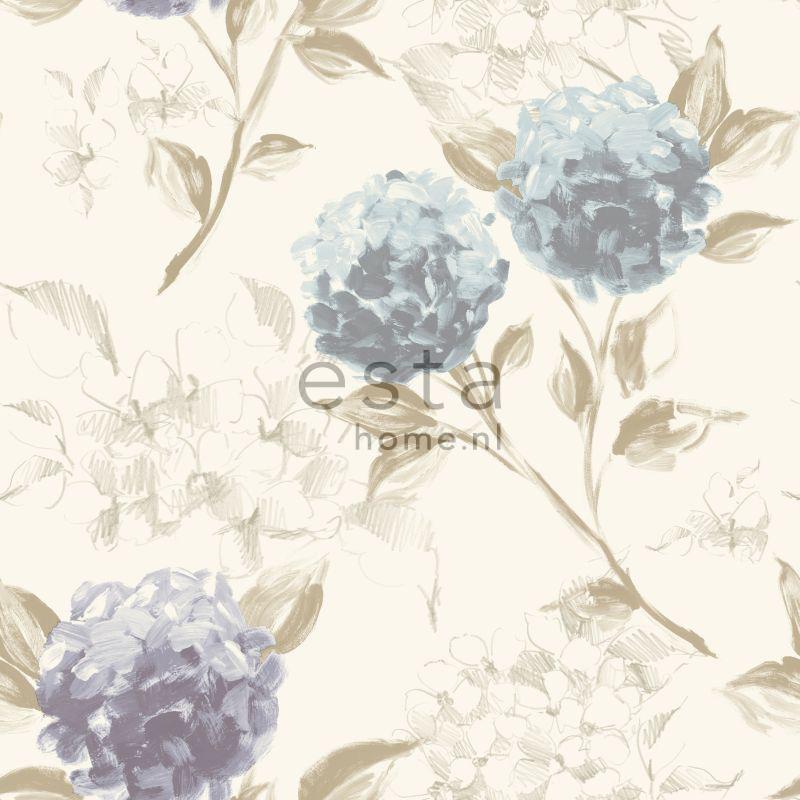 papier peint hortensias bleu pastel et lavende