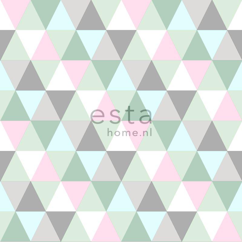papier peint triangles rose menthe et gris