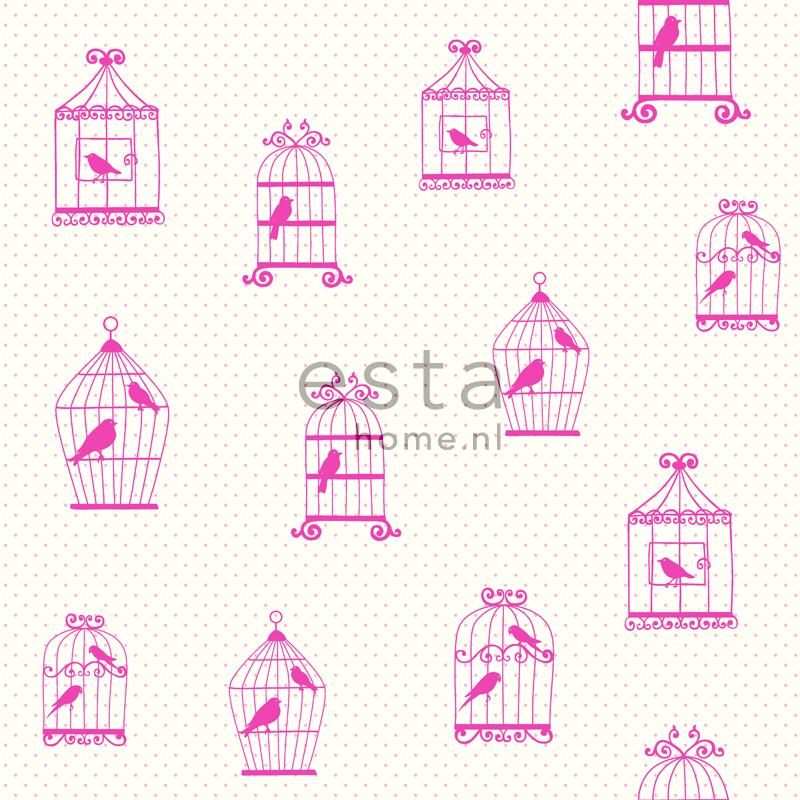 papier peint voliere rose