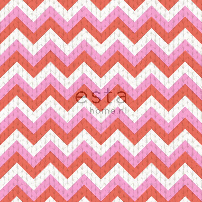 papier peint zigzag corail rouge et rose