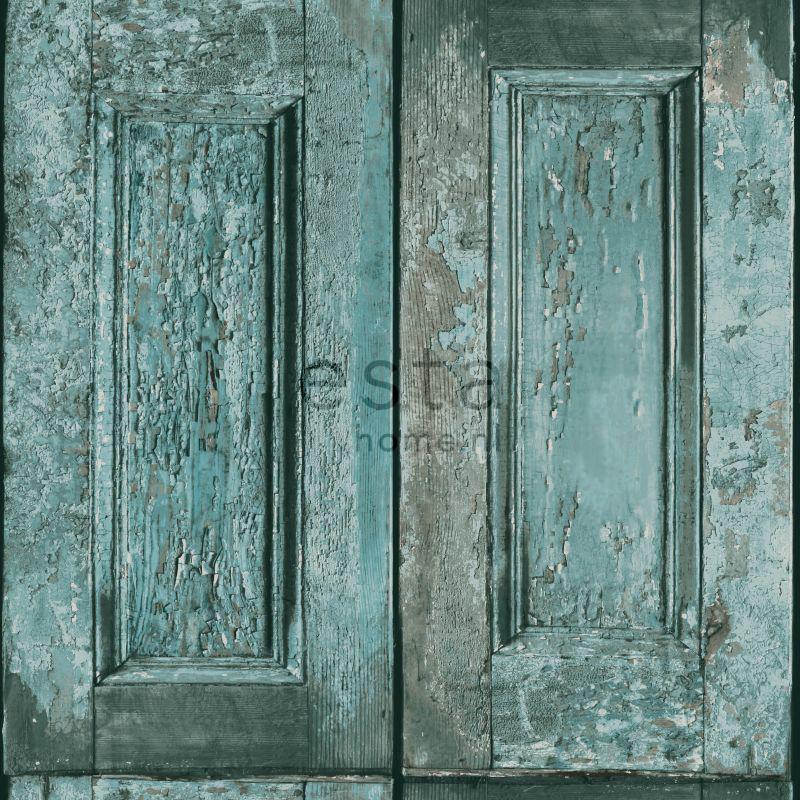 papier peint portes a panneaux turquoise