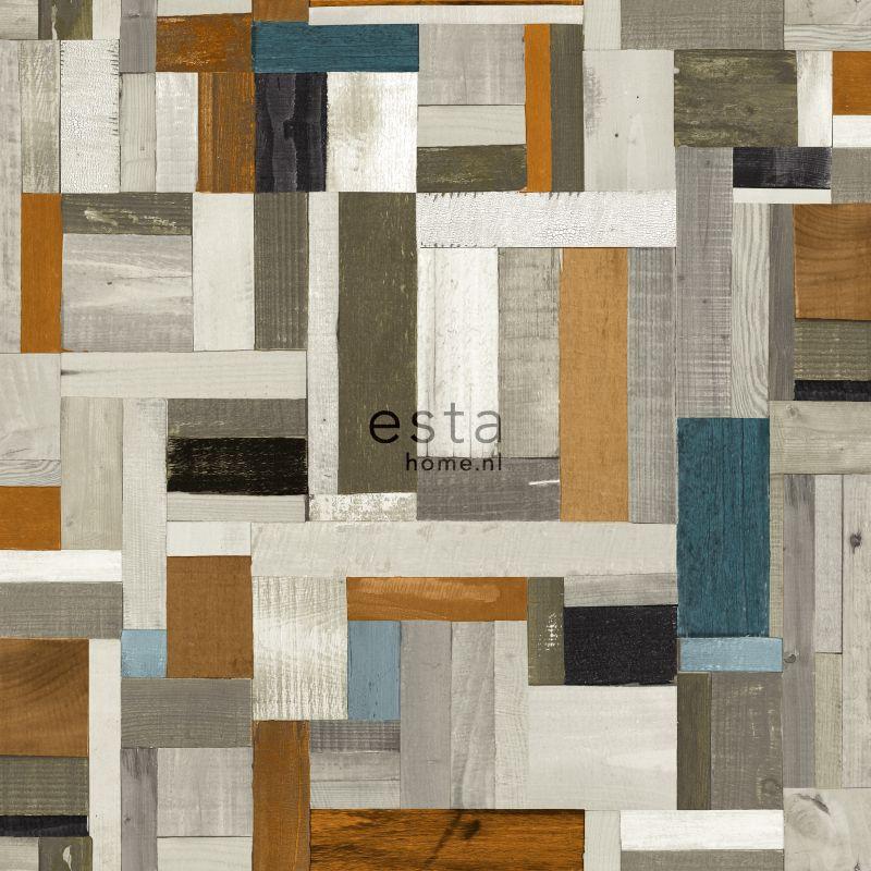 papier peint bois de rebut look vintage